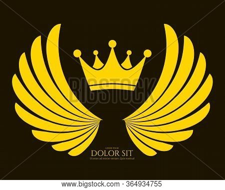 Winged Emblem For Your Company. Wing Silhouette For Heraldry, Tattoo, Logo