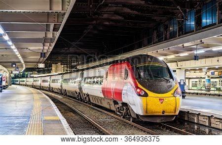 London, United Kingdom - September 8, 2019: Express Train At London Euston Terminus In England