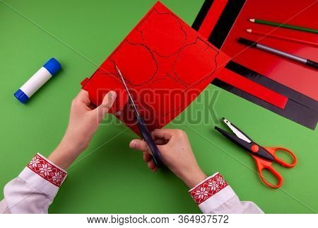 Step 4. Step By Step Instructions. How To Make A Red Poppy From Colored Paper. Creative Crafts For V