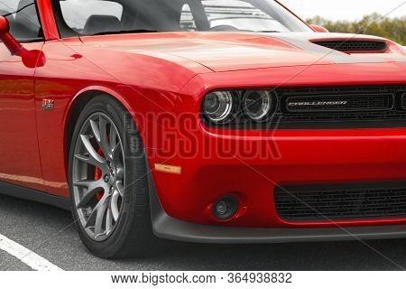 Kiev, Ukraine - April 21, 2020: Muscle Car Dodge Challenger Srt8 392 Hemi. Front Of The Car Close Up