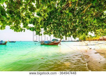 Tropical Beach At Ko Lipe Island, Thailand. Part Of Tarutao National Nature Park. Beautiful Beach, W