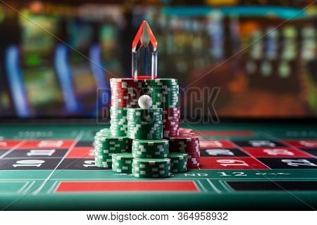 Roulette table with winning number Dolly  close up at the Casino - Selective Focus
