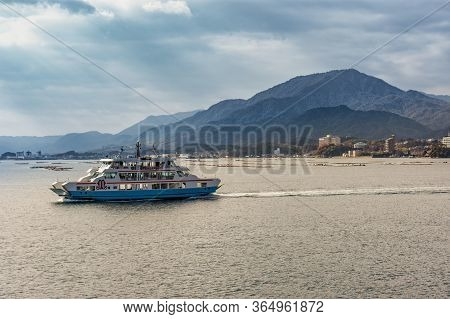 Hiroshima Prefecture / Japan - December 21, 2017: Boat Taking Tourists To The Beautiful Itsukushima