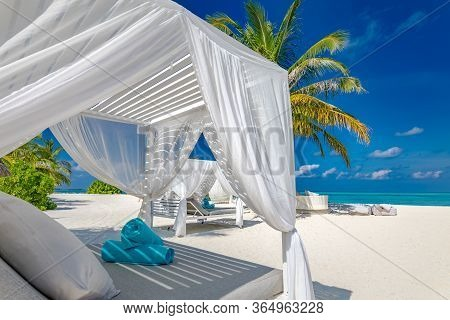 Canopy On Exotic Beach Scene. White Beach Canopies. Luxury Beach Tents At A Tropical Resort. Serenit