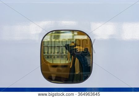 Osaka / Japan - December 20, 2017: View Through The Window Of The Interior And Passenger Seats Of Sh