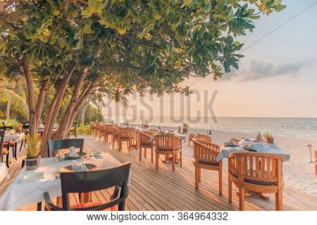 Outdoor Restaurant At The Beach. Table Setting At Tropical Beach Restaurant. Sunset Scenery, Amazing