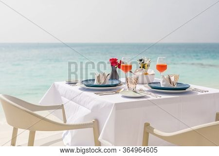 Fresh Breakfast In A Beautiful Location With Sea Views. Luxury Summer Vacation Or Honeymoon Destinat