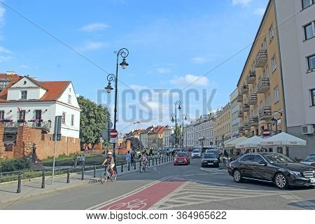 Warsaw / Poland. 27 July 2019: Modern Architecture In Warsaw, Poland. Busy Traffic In Capital Of Pol