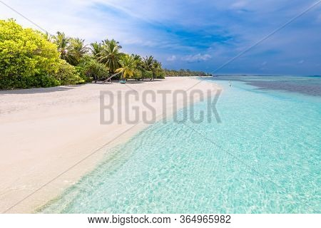 Palm And Tropical Beach. Luxury Travel Mood, Summer Vibes. Tranquil Sea Water As Lagoon With White S