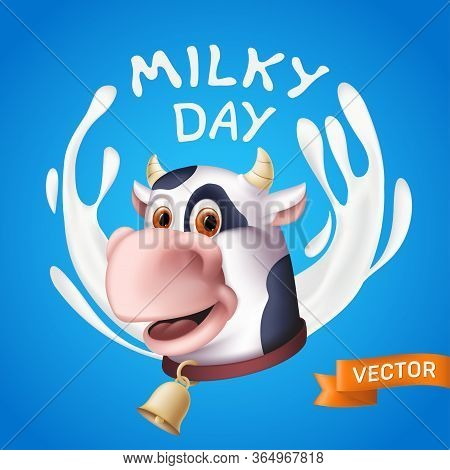 Milky Day Inscription Consisting Of White Yogurt Splashes And The Smiling Cow Cartoon Character Head