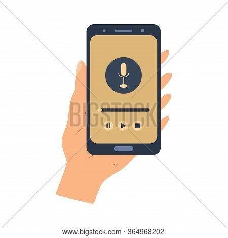 Microphone Sign In The Phone. Listening To The Radio, Podcast. Media Hosting Flat Vector Illustratio