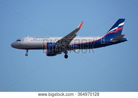 Budapest / Hungary - March 9, 2020: Aeroflot Airbus A320 Vp-bii Passenger Plane Arrival And Landing
