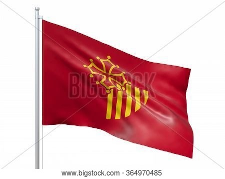 Languedoc-roussillon (region Of France) Flag Waving On White Background, Close Up, Isolated. 3d Rend
