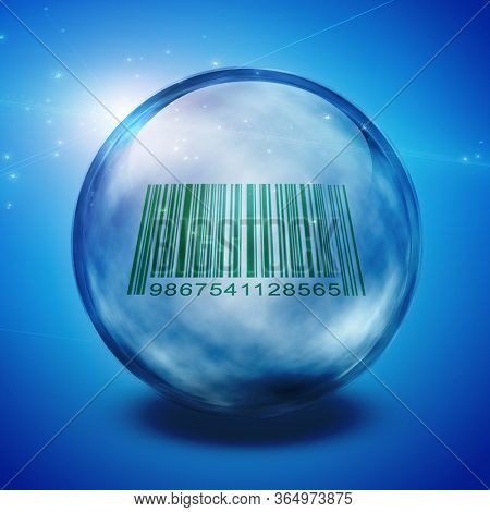 Barcode enclosed in glass sphere. 3D rendering