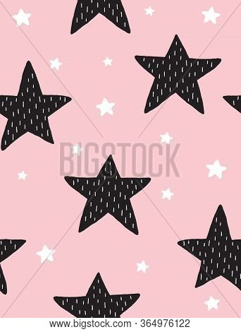 Simple Hand Drawn Irregular Stars Vector Pattern. Big Black And Little White Stars On A Light Pink B