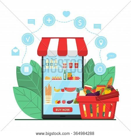 Online Grocery Shopping Concept. Supermarket In Smartphone With Product Basket And Icons. E-commerce