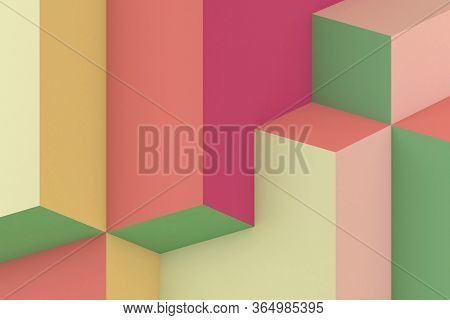 Abstract Colorful Cgi Background. Minimal Geometric Pattern, 3d Rendering Illustration