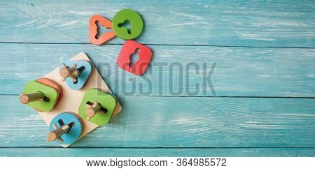 Concept Of Early Childhood Development Using The Montessori Method. Childrens Toys Made Of Wood. The