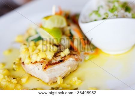 Close up of delicious mahi mahi fish dish poster