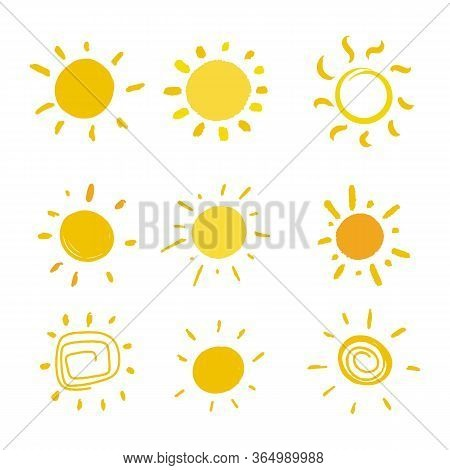 Funny Doodle Sun Set. Kid Style. Vector Illustration.