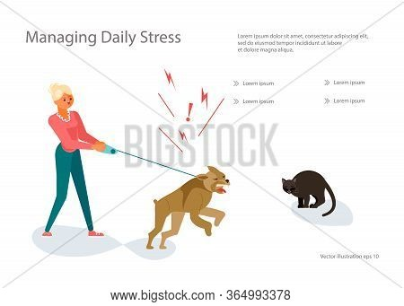 Landing Web Page Template With Concept For Dogs Training School. Woman Trying To Hold A Dog, The Pet