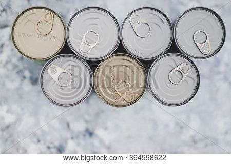 Non-perishable Pantry Food, Group Of Bean Cans Shot From Top Down Persective