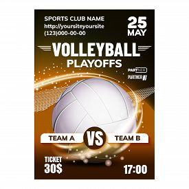 Volleyball Sport Game Invitation Poster Vector. Volleyball Catching And Throwing Ball Played With Ha