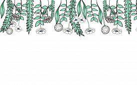 Blue Cornflower Blue Seamless Pattern On White Isolated Background. Vector Hand-drawn Stock Illustra