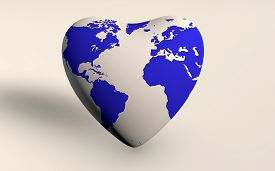 The Earth In A Heart Shape 3d Rendered Isolated On White