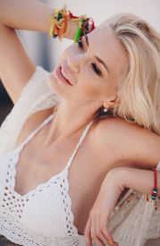 Stock Photo - Portrait Of Beautiful Bohemian Girl In The White Clothing Of Style Of Boho In A Summer