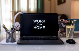 Work From Home During Coronavirus Pandemic Quarantine Isolation. Working Remotely Home Concept. Comf