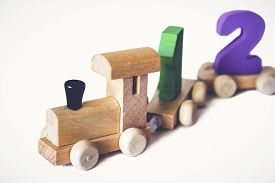 Children's Toy Wooden Locomotive With Colorful Numbers, Beautiful Educational Toy For A Child. Woode