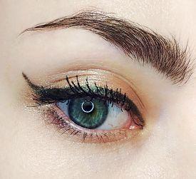Blue Eye Gold Green Arrow Eyeliner Make-up Eyebrow Lash Cosmetic Swatch Fashion Macro Photo