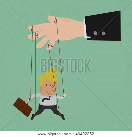 Businessman marionette on ropes controlled vector format