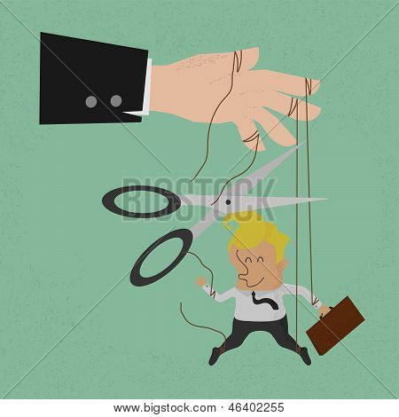 Cutting the strings of a business man puppet, giving it freedom  vector format