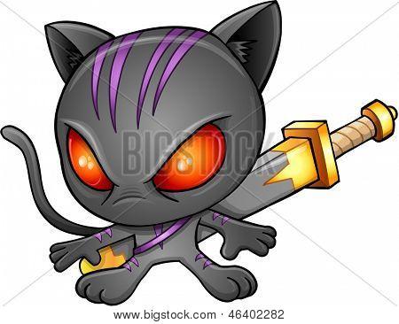 Ninja Warrior Kitten Cat Vector Illustration Art