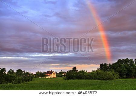 Rainbow Over Rural Village