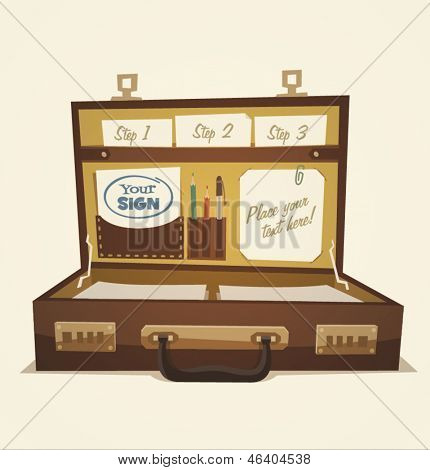 Open briefcase, business illustration