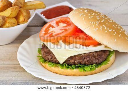 Juicy Burger & Fries
