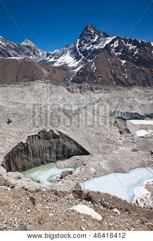 Beautiful Mountain Landscape With A Glacier In A Sunny Day. Himalayas. Nepal