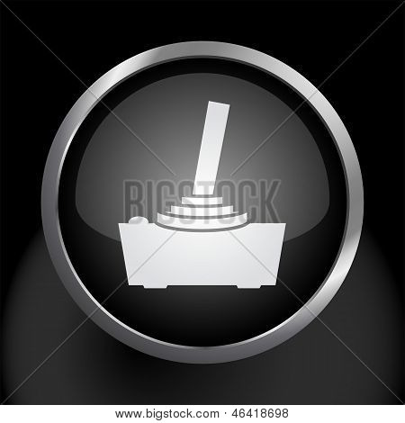 Video Game Joystick Icon on Black Glass Circle Symbol