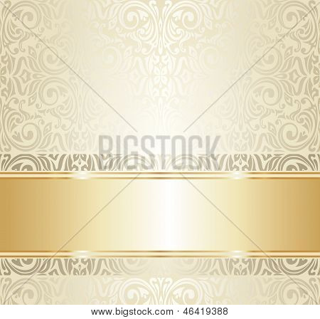 White And Gold Wedding Vintage Ivitation