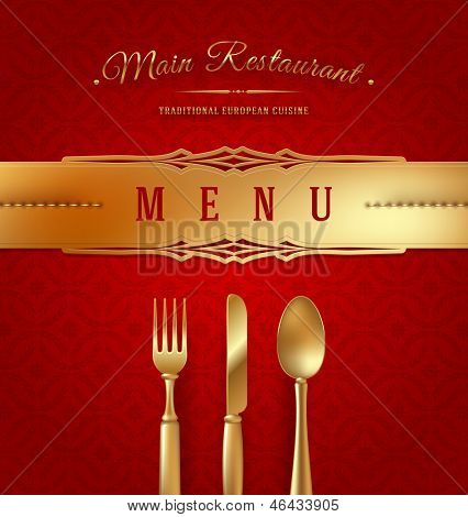 Menu cover with golden cutlery and decorative elements - vector illustration