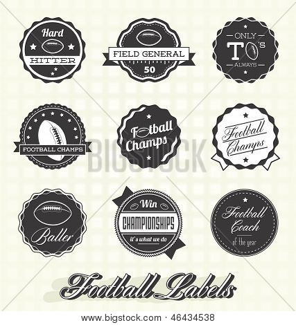 Collection of retro style football champion labels and icons poster