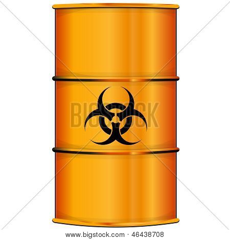 Orange barrel with bio hazard sign