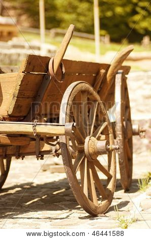 Wooden old horse-drawn carriage