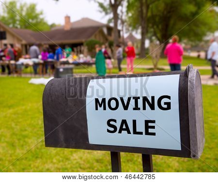 Moving sale in an american weekend on the yard green lawn poster