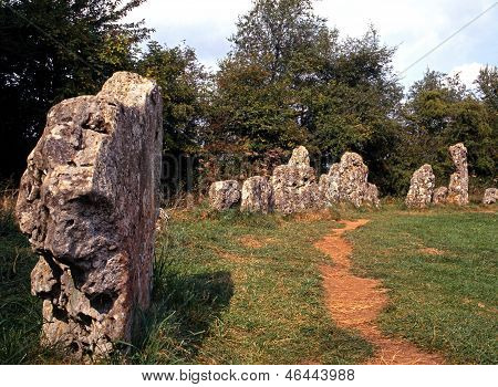 The Rollright Stones a site of megalithic limestone monuments near the villages of Long Compton Great Rollright and Little Rollright Oxfordshire England UK Western Europe. poster