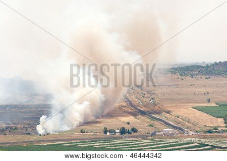Fire After Shelling On Battlefield In Qunaitira Syria