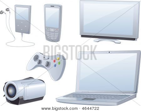 High detailed set of six items contains media player cell phone TV set console joystick notebook and handycam camcorder all in same style. File compatible with Adobe Illustrator 8 all key objects are grouped and well named so they can be easely separated poster